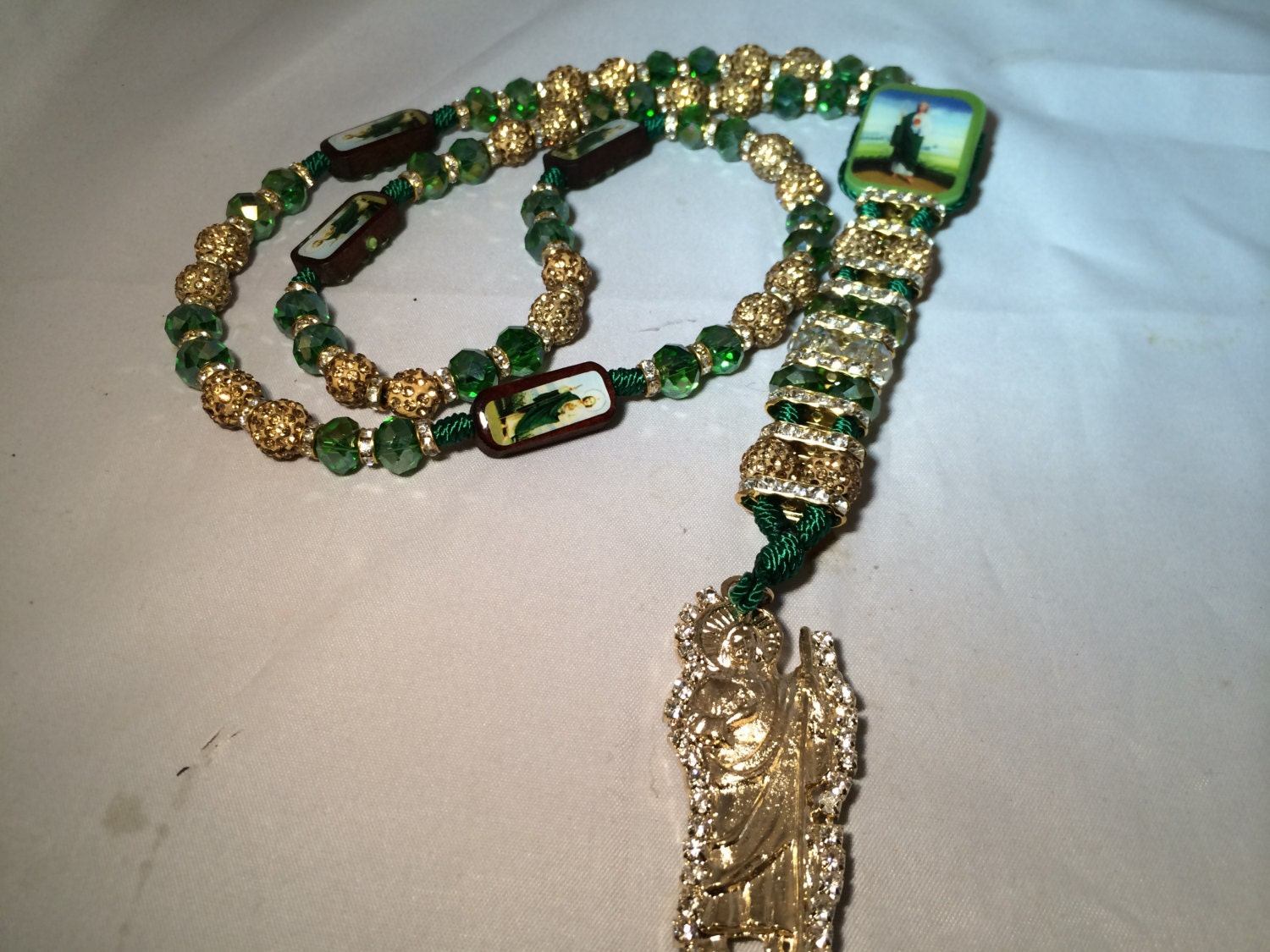 St Jude Double Rosary Necklace Green Gold Swarovski Sha