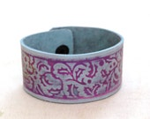 Leather bracelet art nouveau blue and purple leather cuff