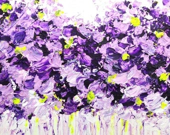 Lilac Summer Abstract Acrylic Palette Knife Painting