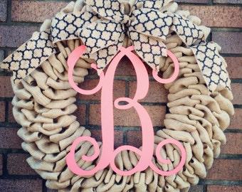 Monogrammed Burlap Wreath  - Spring Wreath - Summer Wreath - Burlap Monogrammed Wreath - Monogram Wreath - Mothers Day gift - Wedding Gift