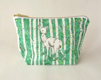Deer Make Up Bag - Digitally Printed - Medium Linen/Cotton Zippered Pouch - Organic Cotton Lining