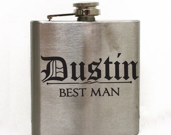 Best Man or Groomsman Personalized Flask - Men's Flask, Wedding Party Flask, 21st Birthday Gift, Wedding Favor, 6 oz hip flask, Usher Gifts