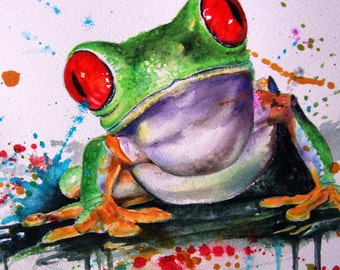 Frog Watercolor Painting Original Limited Edition Giclee Print from my original watercolor painting. Friends 8 x 10
