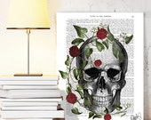 Skull Print With Vine and Flowers - skull Art Print Digital Illustration Drawing Poster Digital Print Wall Art Wall Hanging Digital poster