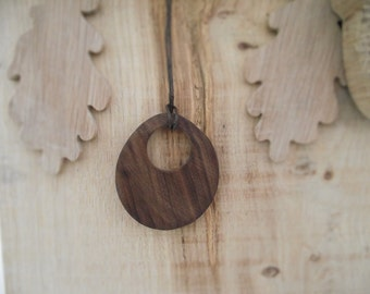 Oval Statement Necklace wooden OOAK Shaped pendant Jewellery