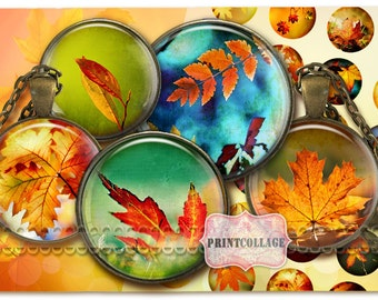 Digital Collage Sheet - Autumn - Cabochon images 1.5inch 18mm 14mm 1inch circle Printable images Instant download bottle caps C128