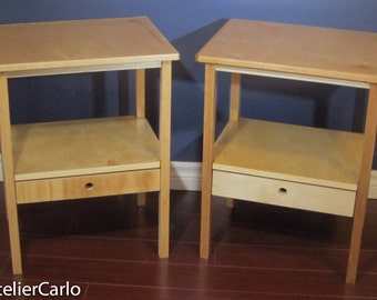 Pair of Nightstands, Bedside Table, End Table with Drawer - maple and cherry