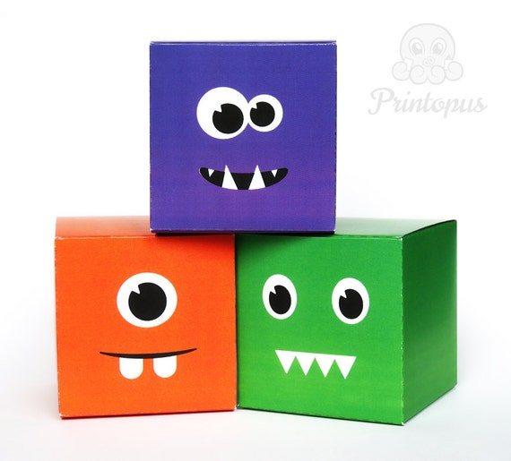 Friendly Monsters Printable Birthday Favor Box Cube by Printopus
