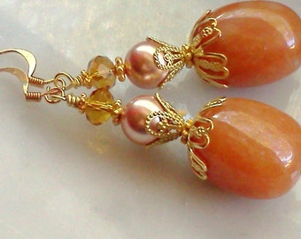 Pumpkin Agate Earrings, Rose Gold Swarovski Pearl Earrings, Pumpkin Dangles, Orange Earrings, Coral Colored Earrings, Handmade, Rose Gold