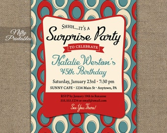 Surprise Party Invitations - Printable Red Blue Cream Surprise Birthday Invites - ANY AGE 30th 40th 50th 60th 70th 80th Adult Party