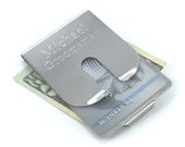 Personalized Brushed Stainless Steel Money Clip / Credit Card Holder Perfect Chirstmas Gift for Him