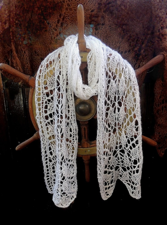 100% virgin CASHMERE Wool Lace hand knitted Long scarf  Wedding Christening Unique Cozy Warm