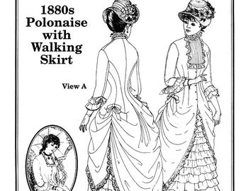 1880's Polonaise and Walking Skirt Sewing Pattern from Past Patterns
