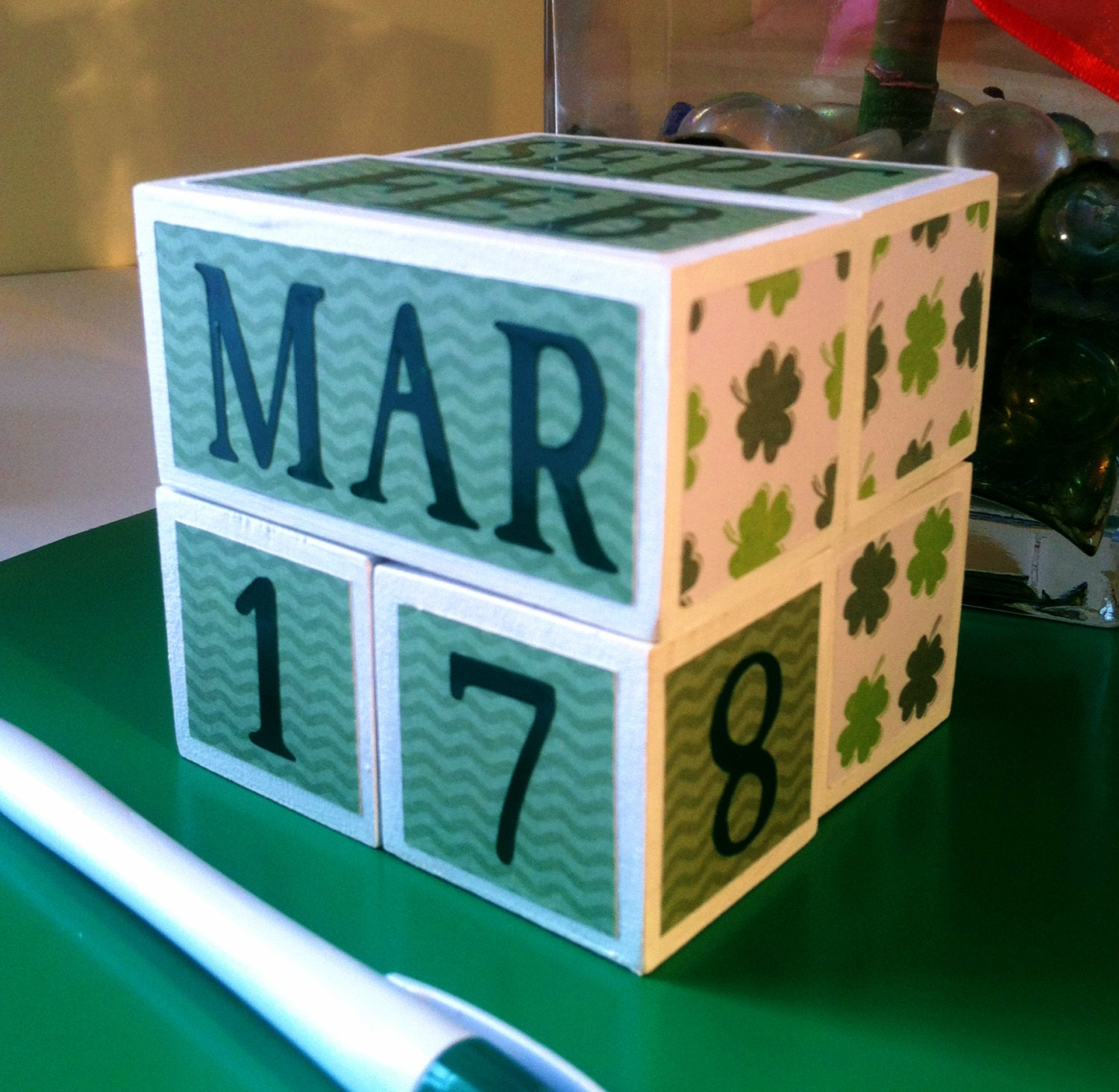 Marvelous photograph of SHAMROCK perpetual wooden calendar unique by AFieldOfSunflowers with #086D43 color and 1500x1464 pixels