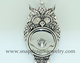 18mm SNAP Jewelry Charm Owl Necklace with Crystal Eyes - Snapdragon Jewelry Noosa Chunk, European style interchangeable with Gingersnaps