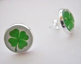 Irish Shamrock Earrings 14mm (5/8 inch) Stud Post Earrings, Four Leaf Clover Jewellery for  St Patrick's Day Jewelry Gifts