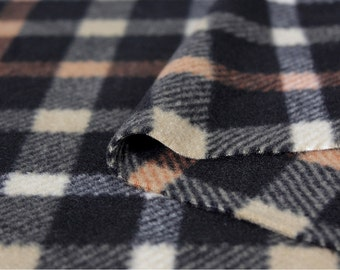 Fleece Fabric Plaid Beige Black By The Yard