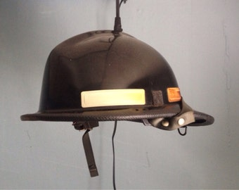 Hanging Firefighter Helmet Lamp