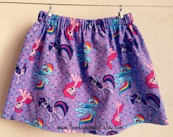 My Little Pony Skirt, Girls Skirt, Purple Skirt, Girls My Little Pony Skirt, Girls Elastic Waist Skirt, Size 6 to Size 15/16 Girls