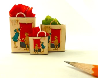 Christmas gift bags Norman Rockwell dollhouse miniature.