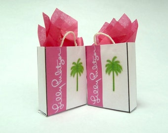 shopping bags Lilly Pulitzer dollhouse miniature 1/12 scale