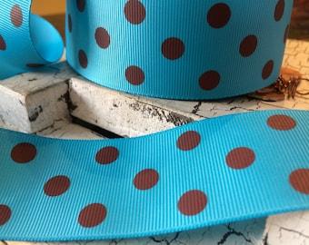 "3 yards 1.5"" Preppy Brown Polka Dot on Blue Grosgrain Ribbon"