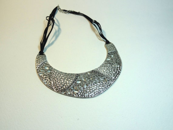 Vintage metal lace-like large pendant necklace with black suede multi-strand cord