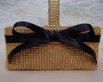 Gold Bling Flower Girl Basket * Your Choice of Color * Gold Black Champagne Silver - Wedding - Rhinestone -  Crystal - Diamond