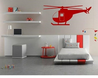 Helicopter Wall Decal - Home Decor - Gift Idea - Kids Room - Nursery - Living Room - Bedroom - Office - High Quality Vinyl Graphic
