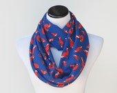 Fox infinity scarf - loop scarf cute blue orange cotton jersey knit foxy scarf -  circle scarf gift for girl, gift for mom