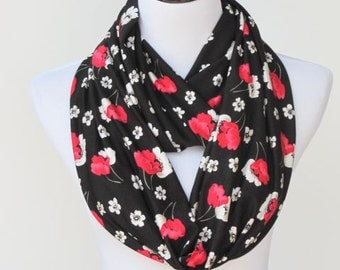 Black red scarf Poppy infinity scarf Mother's day gift for mom pink white black poppies scarf flowers soft jersey knit loop scarf