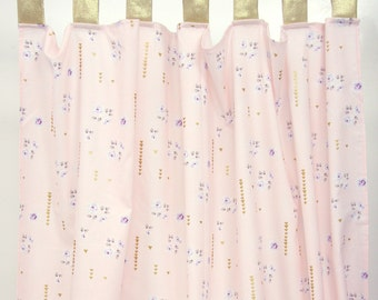 Lilac and Gold Sparkle Curtain Panels