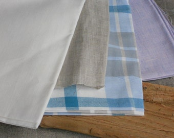 Linen fabric remnants lightweight natural gray blue white lilac white plain checked for baby bedding child clothing