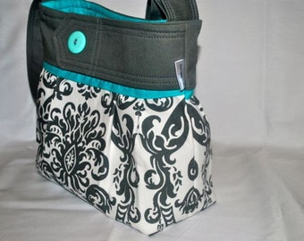 Grey and teal damask purse, damask, bag, purse with teal with button