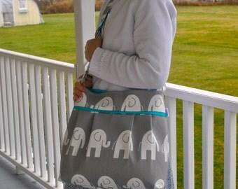 Diaper bag in grey elephant and teal. medium/large, deluxe bag, grey elephant boy bag,