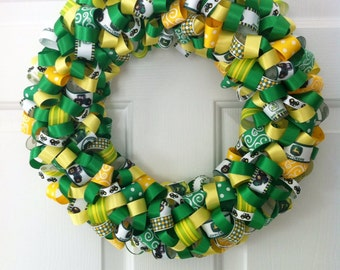 Handmade John Deere Ribbon Wreath