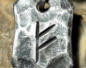 FEHU Rune Steel Forged Pendant Talisman Amulet Necklace Runes Vikings Viking Norse Iceland Magic Witchcraft Mythology Jewelry Pagan Runic