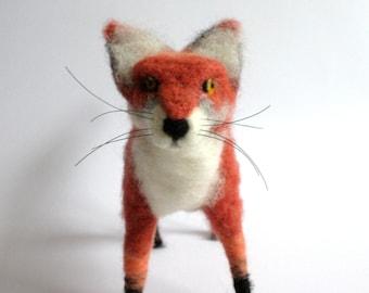 Needle Felted Animal Fox Woodland plush Red Fox Sculpture Figure Animal Art Sculpture Handmade fox Woodland fox