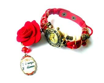Watch red leather cuff half angel, half devil adjustable