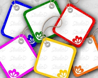 Blank Gift Tags, printable colorful square blank tags for instant download