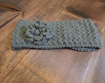 Gray Flower Ear Warmer