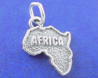 AFRICA Charm .925 Sterling Silver, Country Pendant - t03681