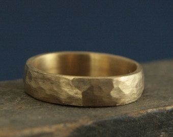 Hammered Gold Wedding Band--Perfect Hammered 5mm Band--Solid 14K Gold Men's Wedding Ring--Rustic Band--Your Choice of Gold Color-Rustic Ring