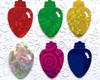 40 Holographic Light Ornament Christmas Die Cuts for Card making Scrapbooking Paper craft