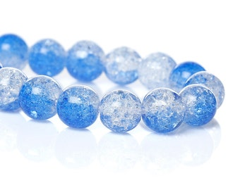 20 Crystal Round Beads Blue and Clear 8mm Frizzling Bead Grade B Loose Bead Beautiful 4149