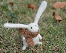 Young Needle Felt Rabbit Wearing Scarf,Handmade,Autumn,Bunny,Hare,Woodland,Critter,Needlefelt,Animal,Soft Sculpture,OOAK,Fibre Art,Miniature