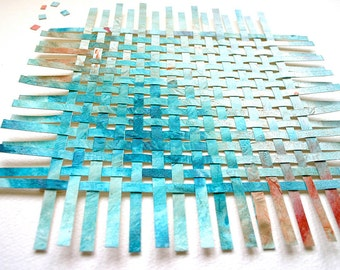 Turquoise Ombre Paper Weaving- 9 x 9- Original Handwoven Art-  Small Abstract Mixed Media- Woven Paper Art- 9x9- Modern Decor