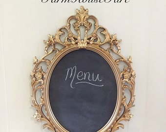 Gold Chalkboard Wedding Oval Framed Chalkboard Baroque Ornate Cafe Menu Announcement Sign/Vintage Style