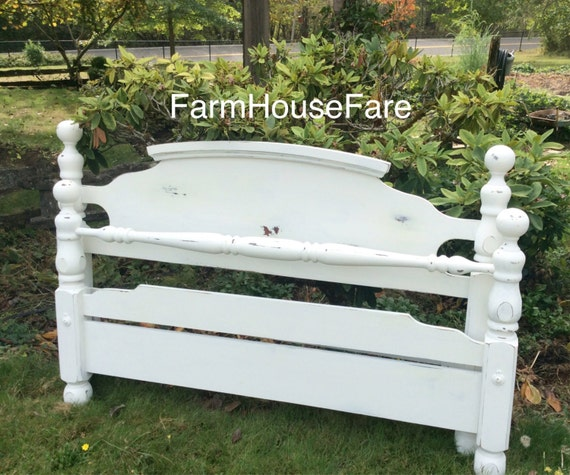 queenfull size bed frame white rustic distressed shabby chic original hand painted chalk paint