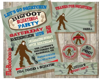 BigFoot Gone Squatchin Party Invitations or Party Package
